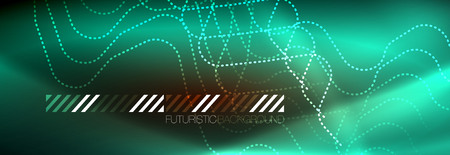 Neon glowing techno lines, hi-tech futuristic abstract background template with square shapes Illustration