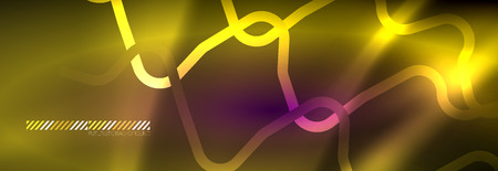 Glowing neon abstract lines, techno futuristic template, vector illustration