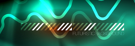 Neon glowing techno lines, hi-tech futuristic abstract background template with square shapes Çizim
