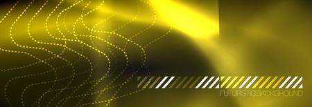 Dark neon light glowing template, abstract vector background lines design