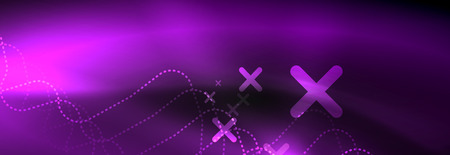 Dark neon light glowing template, abstract vector background lines