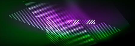 Abstract neon glowing light background. Dark background with lights. Abstract background with neon lights, night view. Vector Vecteurs