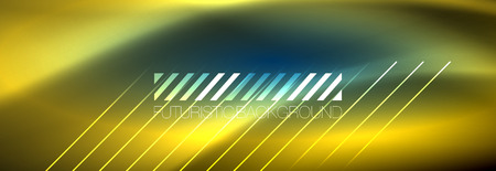 Neon glowing techno lines, hi-tech futuristic abstract background template with lines. Vector illustration Ilustrace