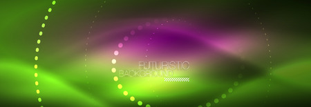 Green neon dotted circles background, vector illustration Çizim