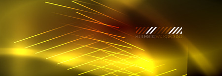 Neon glowing techno lines, hi-tech futuristic abstract background template with lines. Vector illustration 矢量图像