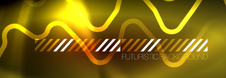 Neon glowing techno lines, hi-tech futuristic abstract background template with square shapes 矢量图像