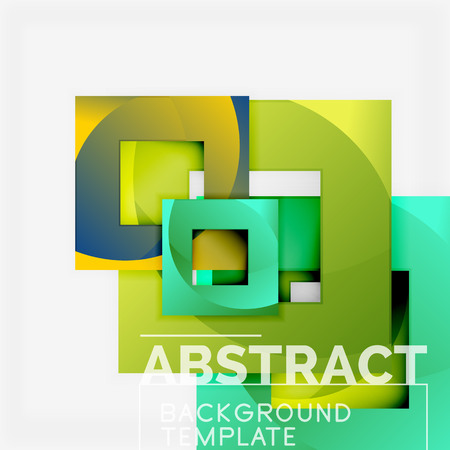 Color square composition with text. Geometric abstract background. Vector illustration