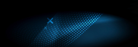 Glowing abstract blue particles wave on dark, shiny motion, Christmas and New Year magic space light. Vector techno abstract background Ilustração