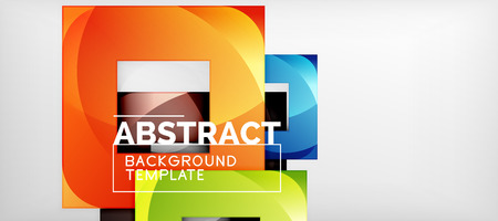 Abstract geometric background. Glossy square shapes composition on grey, minimalistic style template with copyspace. Vector design Imagens - 124718460