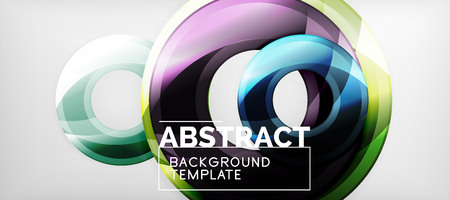 Modern geometric circles abstract background, colorful round shapes with shadow effects, vector illustration