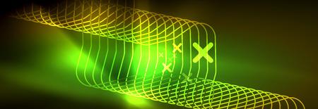 Shiny neon lights background, techno design, modern wallpaper for your project, vector illustration Ilustração