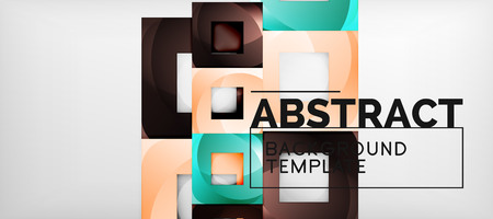 Abstract geometric background. Glossy square shapes composition on grey, minimalistic style template with copyspace. Vector design Imagens - 124691665