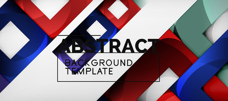 Abstract geometric background. Glossy square shapes composition on grey, minimalistic style template with copyspace. Vector design Imagens - 124691775