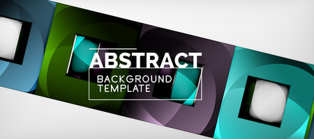 Abstract geometric background. Glossy square shapes composition on grey, minimalistic style template with copyspace. Vector design