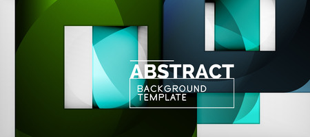 Abstract geometric background. Glossy square shapes composition on grey, minimalistic style template with copyspace Vektoros illusztráció