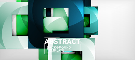 Abstract geometric background. Glossy square shapes composition on grey, minimalistic style template with copyspace