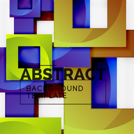 Geometric minimal abstract background with multicolored squares composition, vector