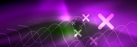 Shiny neon lights background, techno design, modern wallpaper for your project Vektorové ilustrace