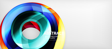 Modern geometric circles abstract background, colorful round shapes with shadow effects, vector illustration Illustration