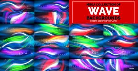 Mega collection of neon glowing wave abstract backgrounds. Magic energy and light motion templates. Vector illustration Banque d'images - 118600702