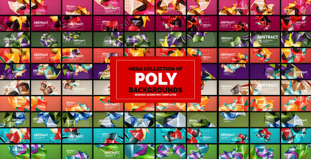 Mega collection of geometric 3d low poly abstract backgrounds. Vector illustration Vektorové ilustrace