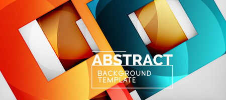 Background with color squares composition, modern geometric abstraction design for poster, cover, branding or banner. Vector