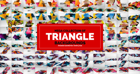 Mega collection of triangle low poly backgrounds. Vector illustration