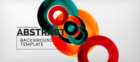 Flying circles geometric abstract background, vector illustration