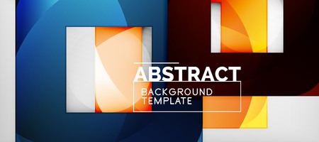 Abstract geometric background. Glossy square shapes composition on grey, minimalistic style template with copyspace. Vector design Vektoros illusztráció