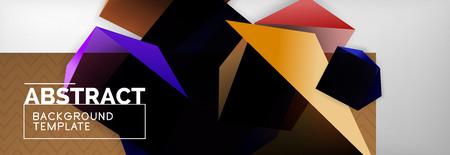Dark 3d triangular low poly shapes abstract background, vector minimal geometric poster design Ilustração