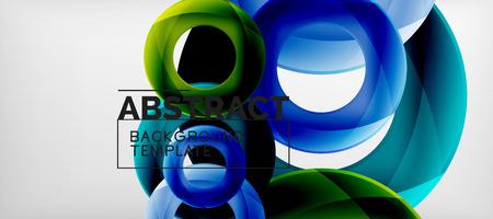 Latające koła geometryczne abstrakcyjne tło, ilustracji wektorowych