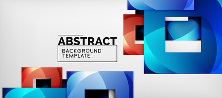 Abstract squares geometric background can be used in cover design, book design, website background. Vector illustration Çizim