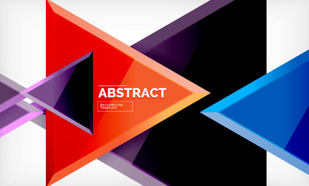 Triangles repetiton geometric abstract background, multicolored glossy triangular shapes, hi-tech poster cover design or web presentation template with copy space. Vector illustration