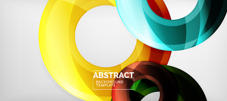 Modern geometric circles abstract background, colorful round shapes with shadow effects Illustration