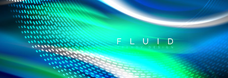 Fluid colors mixing glowing neon wave background, holographic texture Vectores