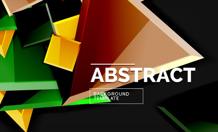 Glossy mosaic style geometric shapes - squares and triangles on black 矢量图像