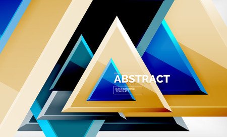 Triangles repetition geometric abstract background, multicolored glossy triangular shapes, hi-tech poster cover design or web presentation template with copy space. Vector illustration
