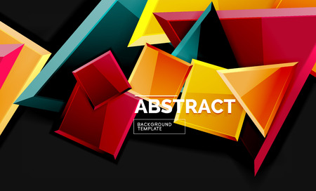 Glossy mosaic style geometric shapes - squares and triangles on black. Vector illustration 矢量图像