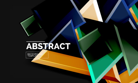 Glossy mosaic style geometric shapes - squares and triangles on black Иллюстрация