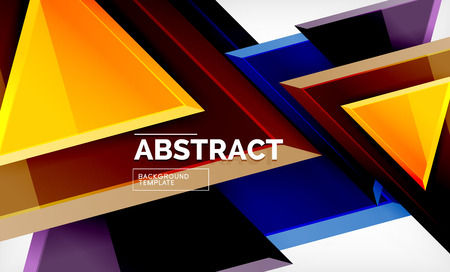 Triangles repetition geometric abstract background, multicolored glossy triangular shapes, hi-tech poster cover design or web presentation template with copy space