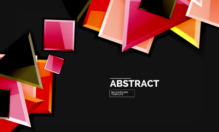Glossy squares and triangles geometric backgrounds. Vector