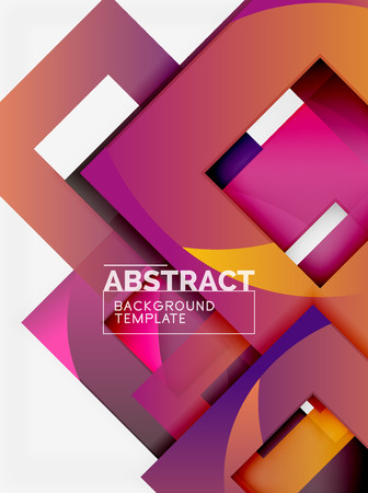 Farbquadratzusammensetzung mit Text. Geometrischer abstrakter Hintergrund. Vektor-Illustration