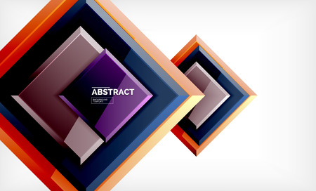 Square abstract background, glossy geometric design