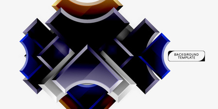 3d futuristic shapes vector abstract background made of glossy pieces with light effects Banco de Imagens - 120193596