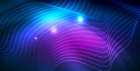 Color neon lights with waves abstract background. Vector illustration Illustration