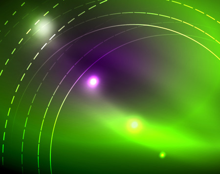 Neon circles abstract background, vector template Illustration