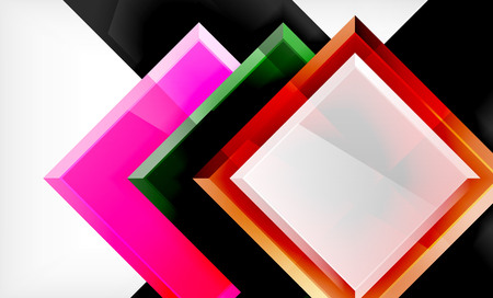 Bright colorful square shape blocks geometrical background, vector modern template Ilustrace