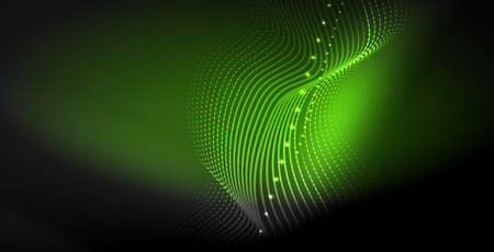 Glowing abstract wave on dark, shiny motion, magic space light. Vector techno abstract background