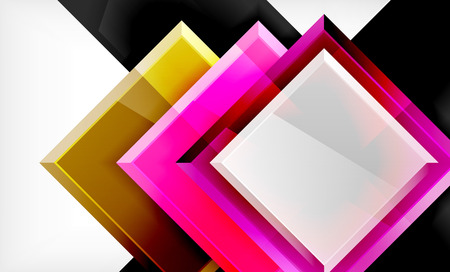 Bright colorful square shape blocks geometrical background, vector modern template Ilustração