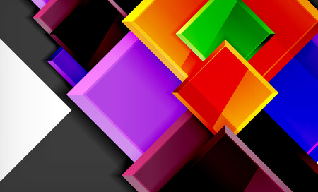 Color squares futuristic abstract background, vector futuristic blocks colorful design Banque d'images - 122770697